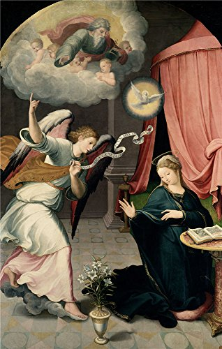 - Perfect Effect Canvas ,the Amazing Art Decorative Canvas Prints Of Oil Painting 'Correa De Vivar Juan The Annunciation 1559 ', 20 X 31 Inch / 51 X 80 Cm Is Best For Bathroom Decor And Home Decoration And Gifts