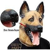 CreepyParty Novelty Halloween Costume Party Latex Dogl Head Mask (German Shepherd)