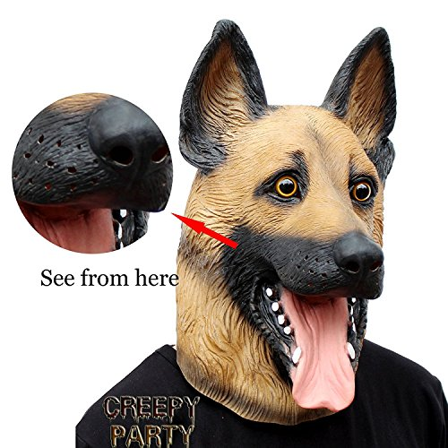 CreepyParty Novelty Halloween Costume Super Bowl Underdog Party Latex Dog Head Mask (German Shepherd) ()