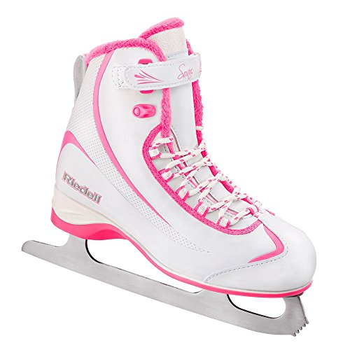 Riedell 615 Soar / Kids Beginner/Soft Figure Ice Skates / Color: White and Pink / Size: 3
