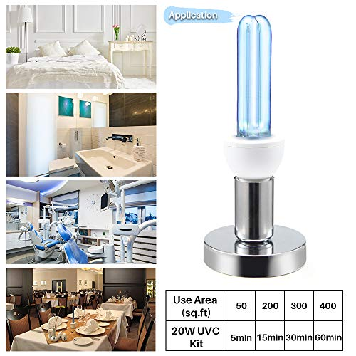 2020 UV Germicidal Light Bulb E27/E26 110V LED UVC Light Ozone Bulb Light 25W UV Disinfection Lamp with Removable Base 5/15/30/60m Timer Control