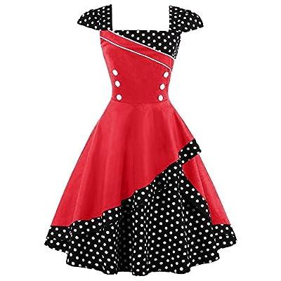 ZAFUL Women 50s Vintage Polka Dot Patchwork Pin up Cap Sleeve Cocktail Party Rockabilly Swing Dress