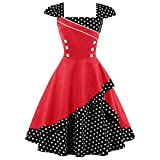 Search : ZAFUL Women 50s Vintage Polka Dot Patchwork Pin up Cap Sleeve Cocktail Party Rockabilly Swing Dress