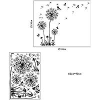 Dandelion Flowers Tree Butterflies Removable Vinyl Wall...