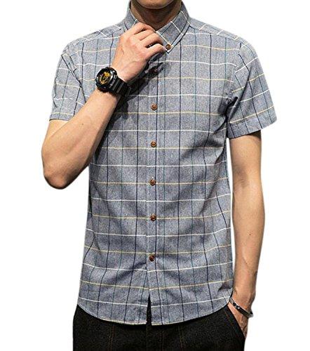ネイティブ授業料緩める(リザウンド) ReSOUND メンズ ブロック チェック シャツ ボタンダウン カットソー トップス Yシャツ 437