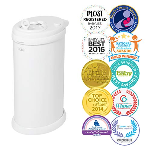 Ubbi Money Saving, No Special Bag Required, Steel Odor Locking Diaper Pail, White
