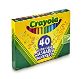 Crayola 40 ct Ultra-Clean Fine Line Markers; Washable, Fine Tip for details,Coloring Supplies for Adults and Kids, Bright & Bold