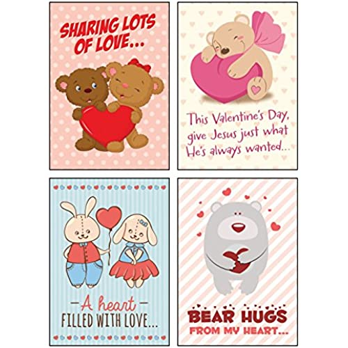 Greeting Cards Valentine Day 12 Boxed Cards Hugs & Love with Cute Illustrations & Scriptures on Each Card Sales