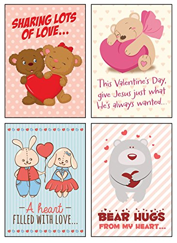 Greeting Cards Valentine Day 12 Boxed Cards Hugs & Love with Cute Illustrations & Scriptures on Each Card