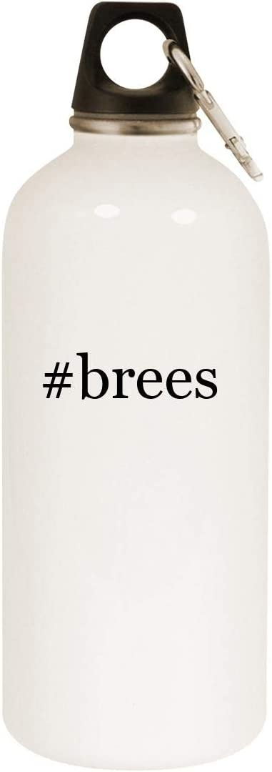 #brees - 20oz Hashtag Stainless Steel White Water Bottle with Carabiner, White