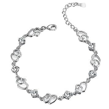 KUNEN Swarovski Elements Blue Crystal Interlocking Double Heart Bracelet with Sterling Silver Cubic Zirconia JcyJDWn