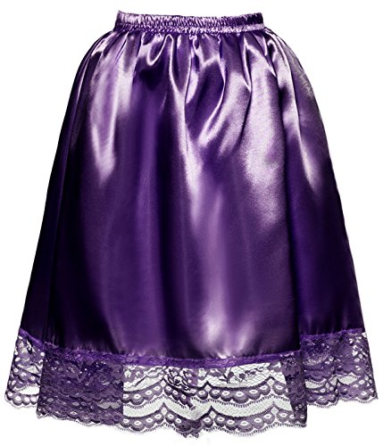 DYS Women's Satin Slip Short Petticoat Skirt Underskirt Lace Hem Many Colors Purple S/M