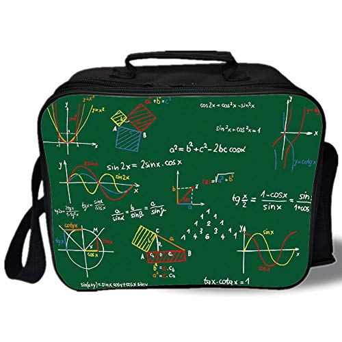 Mathematics Classroom Decor 3D Print Insulated Lunch Bag,Green Blackboard with Colored Formula and Sketches Geometry,for Work/School/Picnic,Multicolor