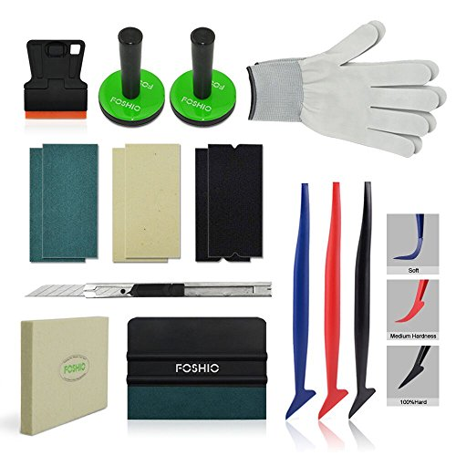 FOSHIO Car Wrap Vinyl Vehicle Film Tool Kit with Film Scrapers, Wool squeegee, Vinyl Cutters, Tint Magnet holders, Gloves,3 Kinds of Squeegee Felts and Flexible Micro Squeegee ()