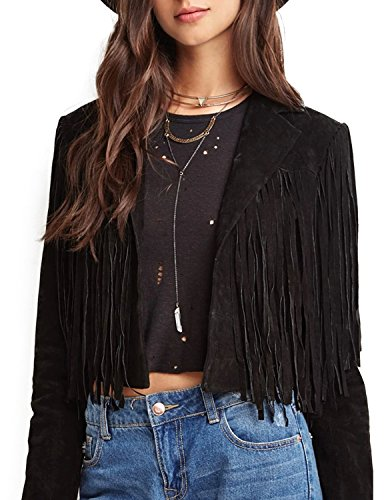 ASMAX HaoDuoYi Womens Faux Suede Leather Tassel Biker Crop Jacket Black