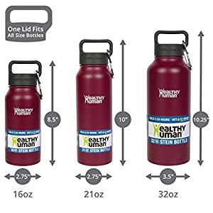 Healthy Human Stainless Steel Insulated Water Bottle Thermos - BPA Free Cap with Hydro Guide & Carabiner Set - Merlot - 21 oz