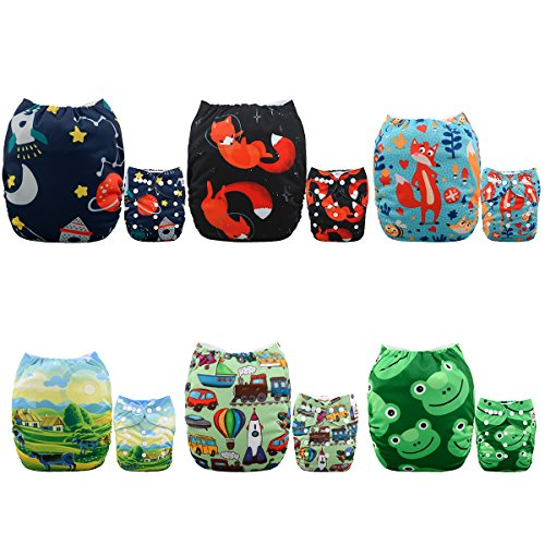 ALVABABY Pocket Cloth Diapers Reusable Washable Adjustable for Baby Boys and Girls ,6 Pack with 12 Inserts 6DM49 by ALVA