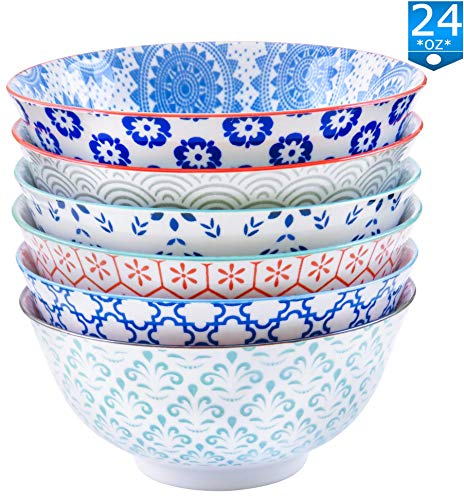 - Gulee 24 Ounce Premium Porcelain Bowls Set - Great for Cereal, Soup, Salad, Rice or Pasta - 6 Vibrant Designs - Large Capacity - Heat and Cold Resistant Ceramic - Dishwasher and Microwave Safe