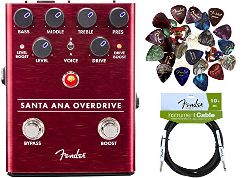 Santa Sampler (Fender Santa Ana Overdrive Pedal Bundle with Fender Instrument Cable and Pick Sampler)