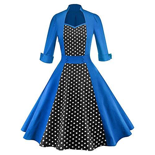 96696f12e61a Caopixx Dress for Women's Elegant Classy V-Neck Audrey Hepburn 1950s  Vintage Rockabilly Swing Dress