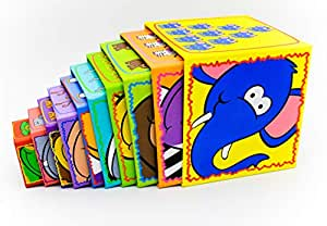 Animal and Number Cardboard Stacking Blocks - Perfect for Learning, Fine Motor Skills and Play,