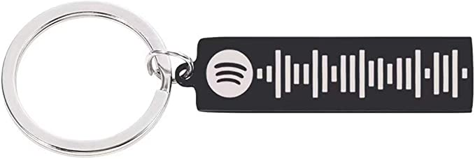 Danning M/úsica Personalizada Spotify Llavero Spotify Scan Code Cuff Llavero Llavero de Acero Inoxidable Grabado l/áser Personalizado Spotify Code Ring Jewelry