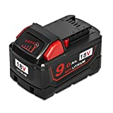 Surepp 18V 9.0Ah High Demand Capacity Red Lithium Ion Power Tools Battery Pack Milwaukee M18 Replace for 48-11-1890