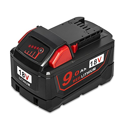 Surepp 18V 9.0Ah High Demand Capacity Red Lithium Ion Power Tools Battery Pack Compatible with Milwaukee M18 48-11-1890 48-11-1820 48-11-1850 48-11-1860 48-11-1828 48-11-10