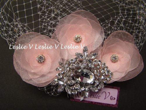 Fiona Blush Pink: Large Crystal Brooch, Sheer Flowers & IVORY Crystal Bridal Birdcage Veil 27-19(3)pk-fiona