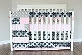 Navy Pink Gotcha Baby Girl Crib Bedding Set. Pink Gray Navy Crib Skirt, Rail cover, Minky Sheet