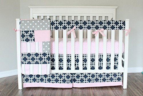 Navy Pink Gotcha Baby Girl Crib Bedding Set. Pink Gray Navy Crib Skirt, Rail cover, Minky Sheet by Baby Milan