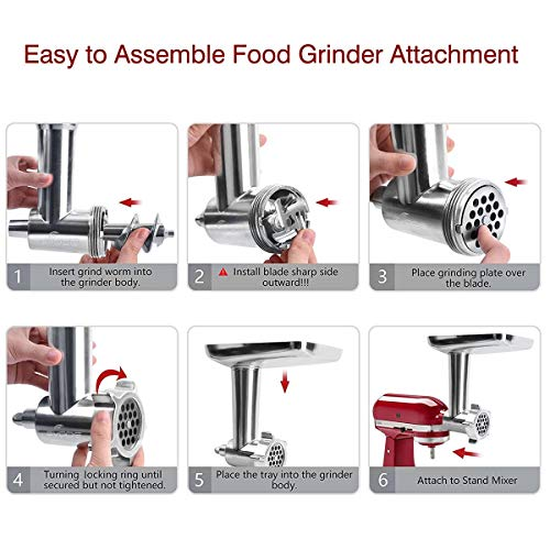 Gvode Metal Food Grinder Attachment for KitchenAid Stand Mixers Including Sausage Stuffer Accessory
