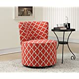 """Monarch Specialties I 8132 Coral """"Inchantern"""" Fabric Accent Chair with Swivel Base, 32"""""""