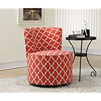 Monarch Specialties Coral Inchantern Fabric Accent Chair with Swivel Base, 32-Inch