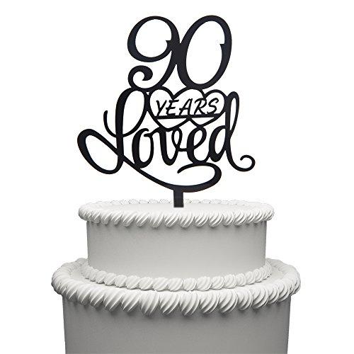 90 Years Loved Cake Topper (Black)