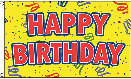 1000 Flags Limited Happy Birthday Flag 5'x3'  - Woven Polyes