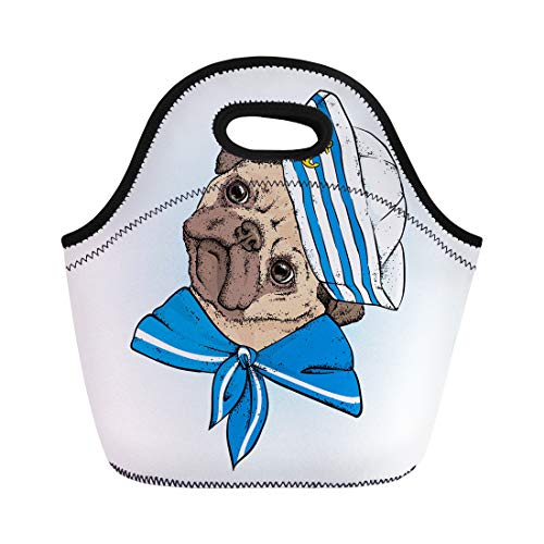 Semtomn Lunch Tote Bag Beautiful Dog in Sailor Animal Accessories Cap and Tie Reusable Neoprene Insulated Thermal Outdoor Picnic Lunchbox for Men Women