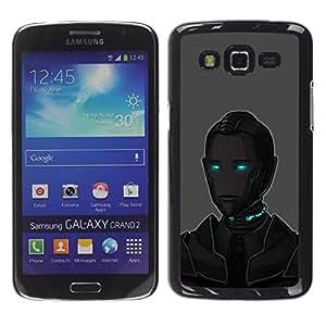 Smartphone Rígido Protección única Imagen Carcasa Funda Tapa Skin Case Para Samsung Galaxy Grand 2 SM-G7102 SM-G7105 Blue Eyes Robot Ai Technology Future Art / STRONG