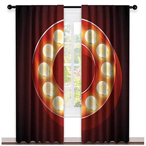 hengshu Letter O, Curtains Light Blocking, Entertainment World in Vegas Theme Vintage Casino Nightclub Theater Typeset, Curtains for Living Room, W72 x L96 Inch Ruby Yellow Black