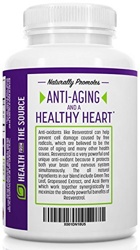 Origin Labs Resveratrol Supplement with Acai Berry Green Tea and Grape Seed Extract - 1400mg per Serving Maximum Strength Anti-Oxidant Immune Anti-Aging Supplement 60 Capsules Discount