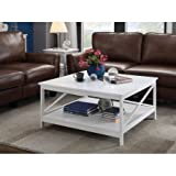 Convenience Concepts Oxford 36'' Square Coffee Table, Bottom Shelf for Additional Storage (White)