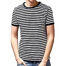 PowerSupply-ZT Men's Short Sleeve O/V-Neck Striped T Shirt Basic Shirts Tee Blouse Tops (S, Black/White Stripe)