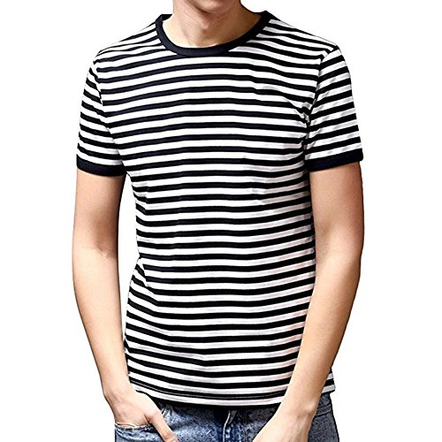 Striped Crewneck Shirt (Ezsskj Men's Youth Short Sleeve Crew Neck Striped T Shirt Tee Outfits Tops Medium Black)