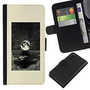 Arte Blanca Luna Mar Negro- la tarjeta de Crédito Slots PU Funda de cuero Monedero caso cubierta de piel Para Sony Xperia Z3 D6603