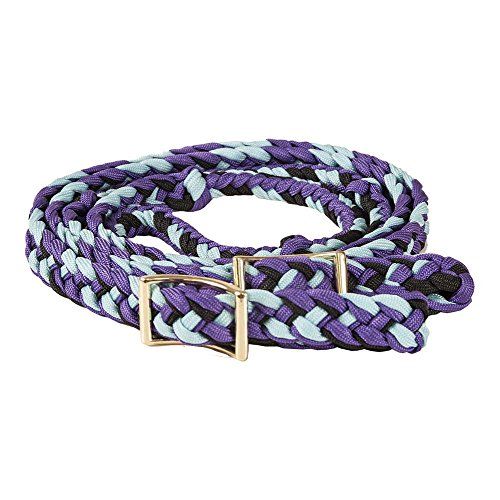 Braided Nylon Tack - Mustang Nylon Braided Contest Rein Purple/Blk/Turq