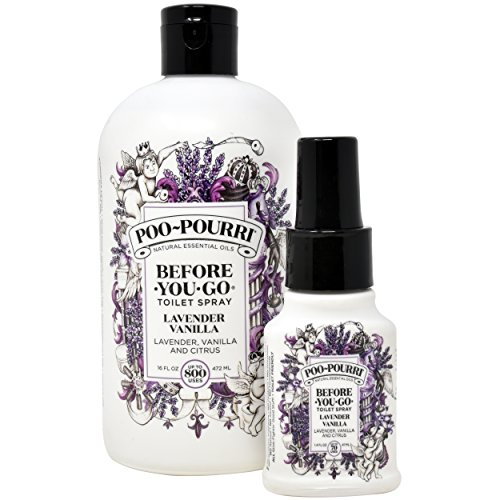 Poo-Pourri Lavender Vanilla 16-Ounce Refill Bottle,and 1.4-Ounce Lavender Vanilla
