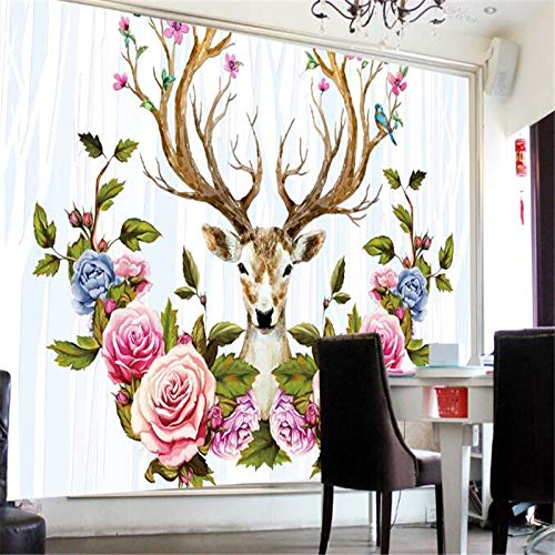 Yonthy 3D Mural Wall Sticker Wallpaper Living Room Bedroom Decoration Flowers Photo Home Decorative Blue Florals Elk 300Cmx200Cm