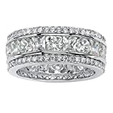 Square-Cut and Round White Cubic Zirconia Platinum over .925 Silver Pave Eternity Ring