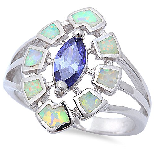Shape Marquis (New Best Seller Marquis Shape Simulated Tanzanite & Lab Created White Opal .925 Sterling Silver Ring Size 9)