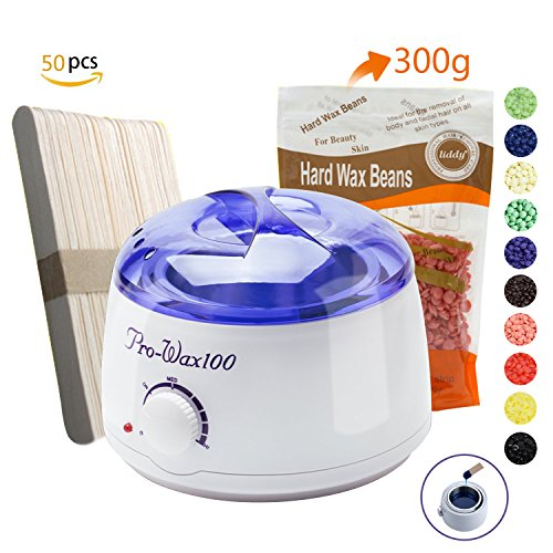 Wax Warmer,Portable Electric Hair Removal Waxing Kit for Facial Bikini Area Armpit With Hard Wax Beans (300g) and Wax Applicator Sticks (50 pcs),Self-waxing Spa in Home For Girls Women Men